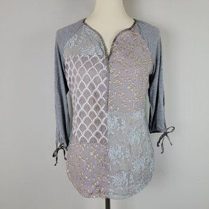 Anthropologie TINY Gray Gold Shimmer Patchwork Top